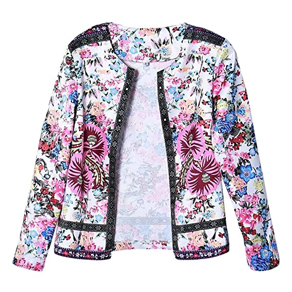 tops - SODIAL(R)Mujeres etnica impreso floral chaqueta corta manga larga Outwear (M(EU36)): Amazon.es: Ropa y accesorios