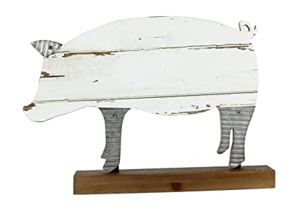 Youngu0027s Pig Wood And Tin Metal Table Top Statue Figurine, 12.5u0026quot; ...