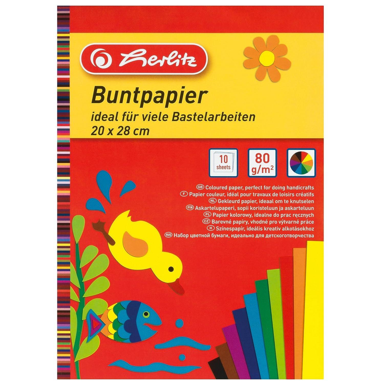 farbig sortiert Buntpapier gummiert 12 Blatt Idena Glanzpapier DIN A4