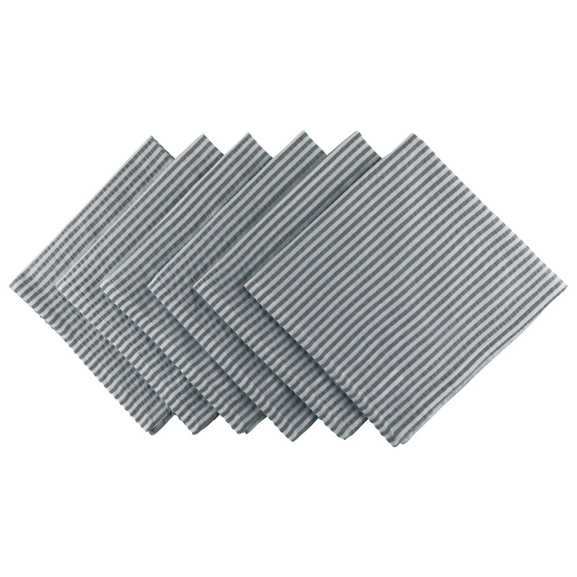 DII Cotton Seersucker Striped Napkin for Brunch, Weddings, Showers, Parties and Everyday Use, 20 x 20'', Mineral Gray and White by DII (Image #1)