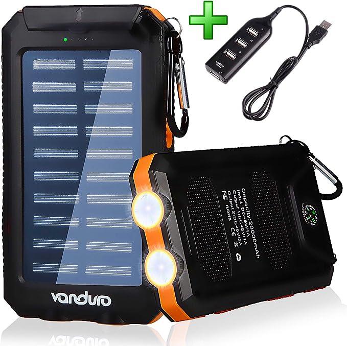 Vanduro 606090P Vanduro Cargador solar USB portátil – Batería ...