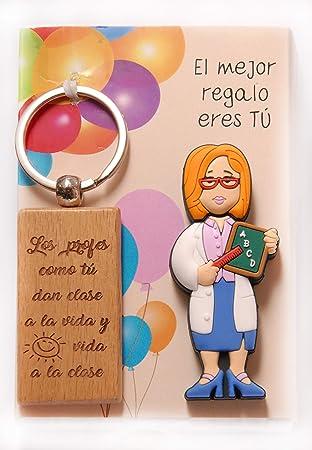 USB de 16gb. Profesora con Llavero de Madera con Leyenda grabada en láser.