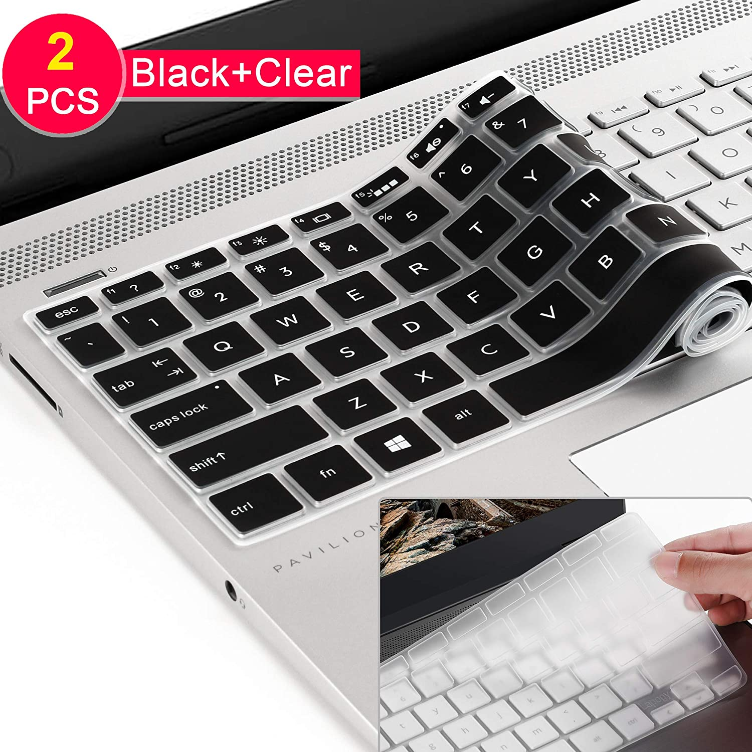 [2 Pcs] for 2019 2018 HP 14 inch Laptop Keyboard Cover/HP Pavilion x360 Keyboard Cover 14M-BA 14M-CD 14-BF 14-BW 14-cm 14-CF Series 14 Inch,Silicone Keyboard Protective Cover Skin,Black+Clear
