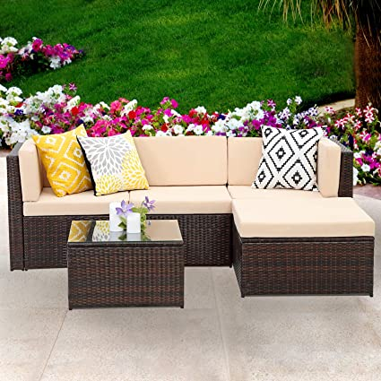 Amazon Com Wisteria Lane Outdoor Sectional Patio Furniture 5 Piece