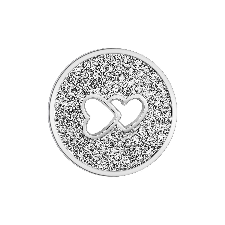 U/&D Coin 33mm Edelstahl Anh/änger Herz Schmuck Rosegold Coin Damen