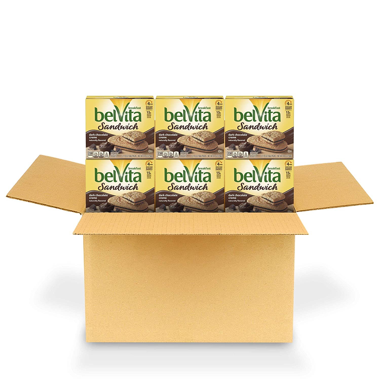 belVita Sandwich Dark Chocolate Creme Breakfast Biscuits, 6 Boxes of 5 Packs (2 Sandwiches Per Pack)