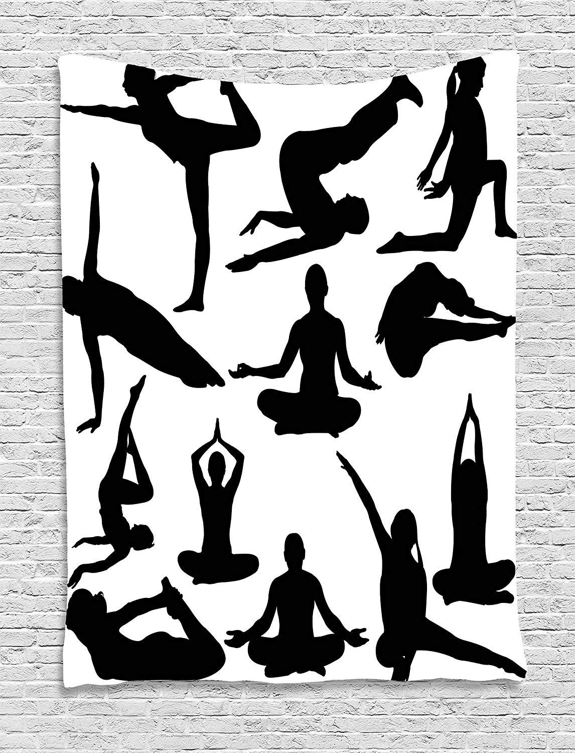 XHFITCLtd Meditation Tapestry, Yoga Postures Woman Body Relaxation Chakra Mystic Hobby Theme Hippie Print, Wall Hanging for Bedroom Living Room Dorm, 60 W X 80 L Inches, Black White