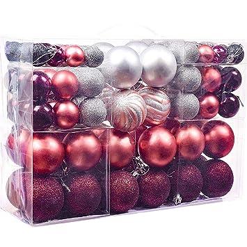 Victor's Workshop 100 TLG. 3-6cm Mysteriöser Palast Weihnachtskugeln Plastik Rosa und Christbaumkugeln Set Weihnachtsbaum Anh
