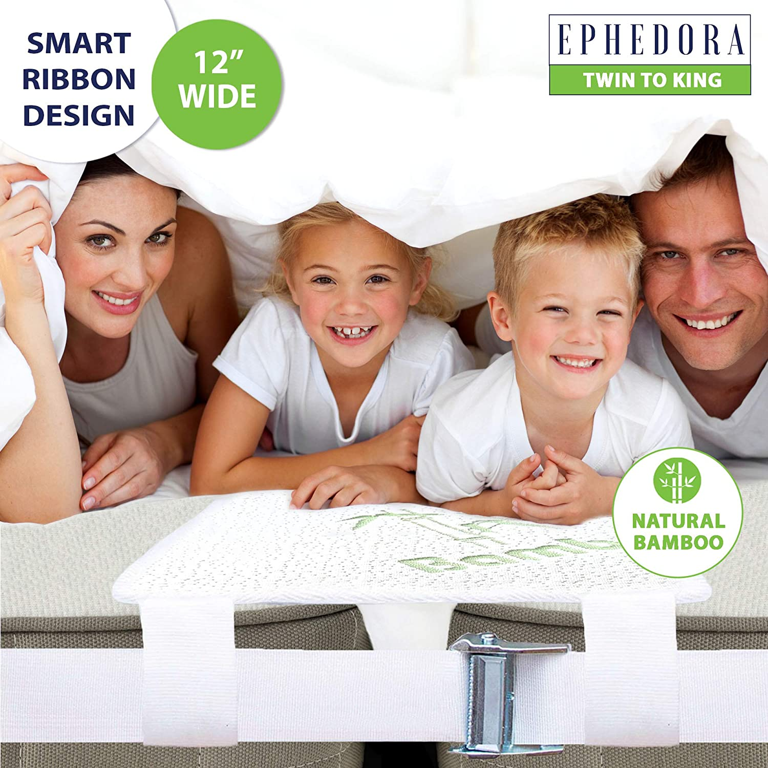 EPHEDORA Bed Bridge Twin to King Converter Kit - Mattress Extender Set to Fill in Gap - Memory Foam Filler Pad and Connector Strap - for Guest and Family Room (Twin to King Bamboo)