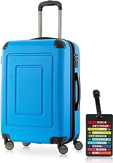 Happy Trolley - Lugano Bagaglio a mano Valigia Trolley da Cabina rigido TSA ABS 4 ruote, S (55cm), 40 litres, Blu scuro +etichetta del bagaglio 1601