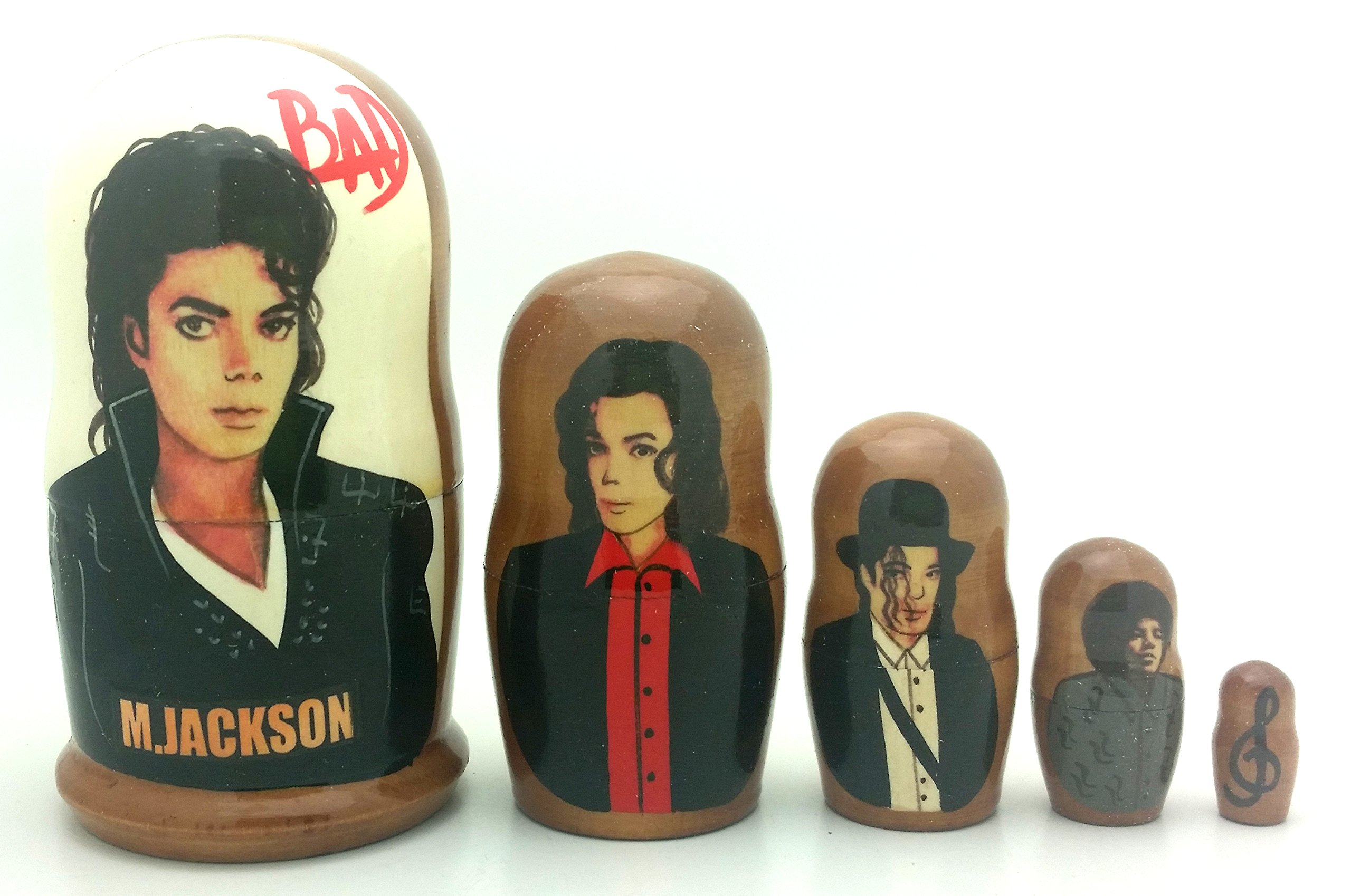 Michael Jackson BAD Russian Nesting dolls 5 piece DOLL Set 4'' Tall by BuyRussianGifts (Image #2)