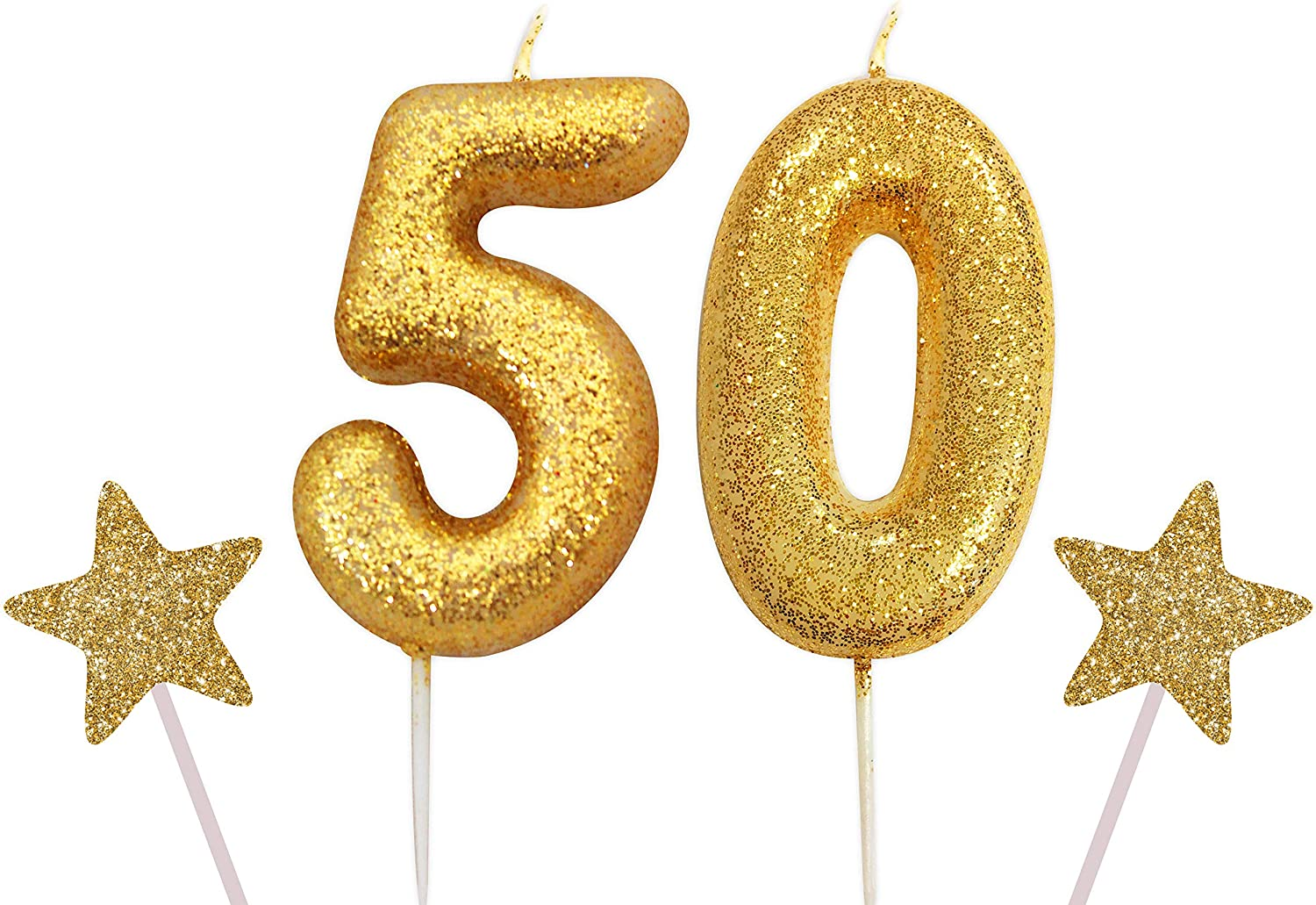 50 Gold Number Candle