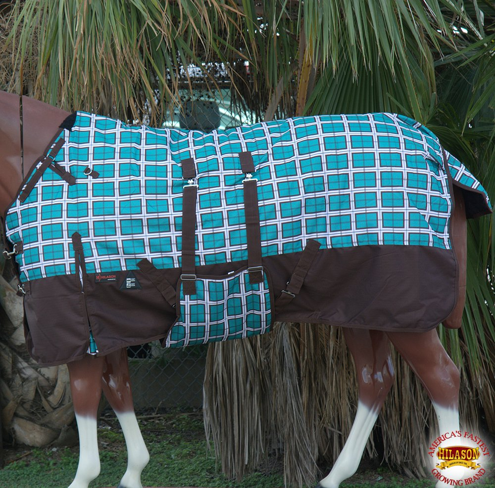HILASON 78'' 1200D WINTER WATERPROOF HORSE BLANKET BELLY WRAP TURQUOISE PLAID WITH BROWN