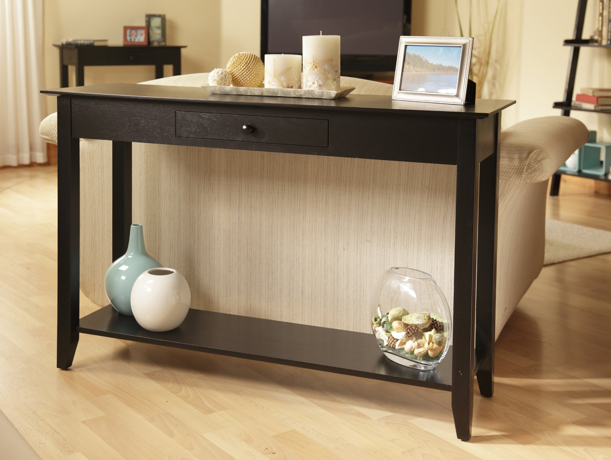 Convenience Concepts American Heritage Console Table with Drawer and Shelf, Black by Convenience Concepts (Image #2)