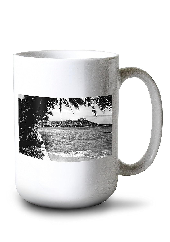 ホノルル、ハワイ – ビューのダイヤモンドヘッド写真 15oz Mug LANT-3P-15OZ-WHT-8017 B0784L8WCB  15oz Mug