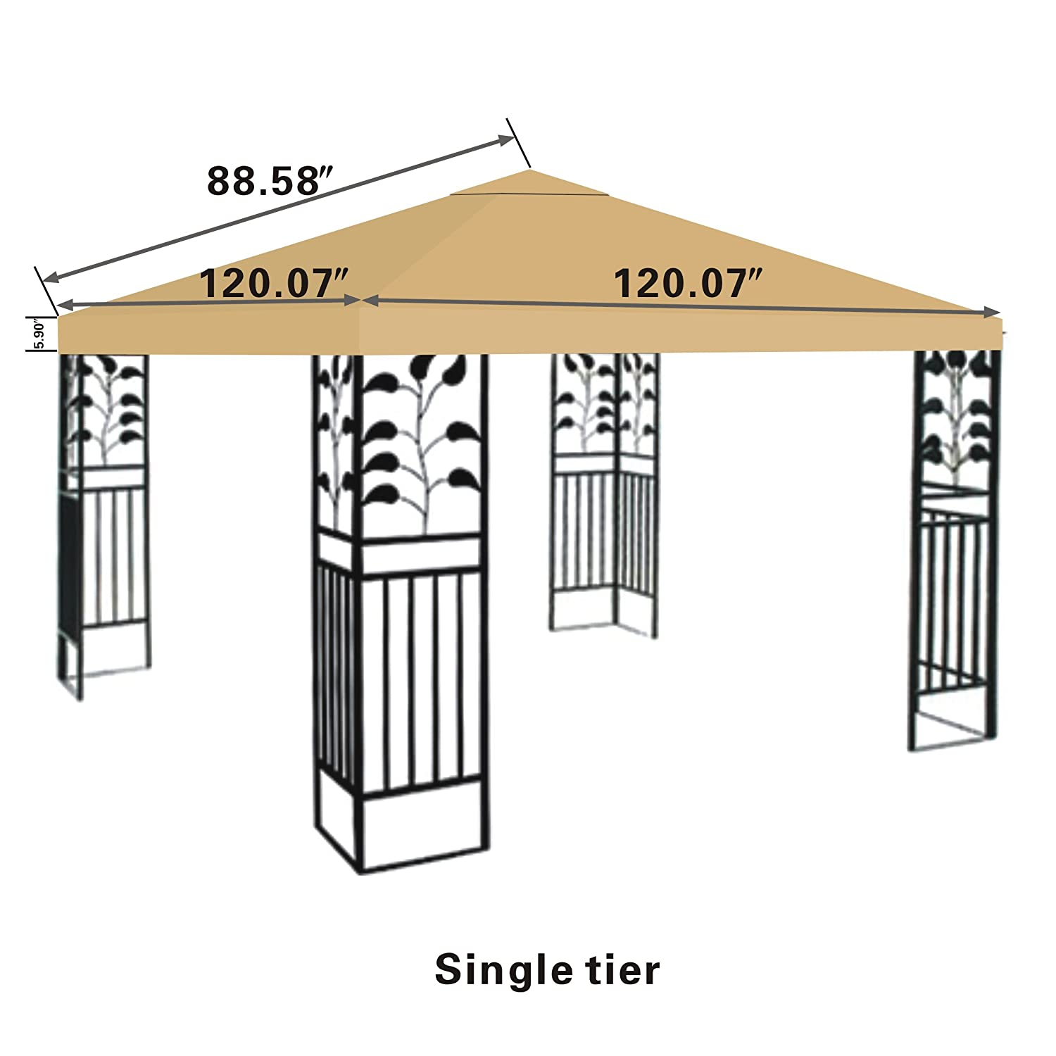 Amazon.com  STRONG CAMEL Replacement 10u0027X10u0027gazebo canopy top patio pavilion cover sunshade plyester single tier-BEIGE  Garden u0026 Outdoor  sc 1 st  Amazon.com : gazebo canopy replacement covers 10x10 - memphite.com