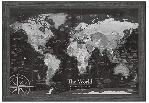 World Map Push Pin Amazon.com: World Map Push Pin Framed, Black and White, Use as a