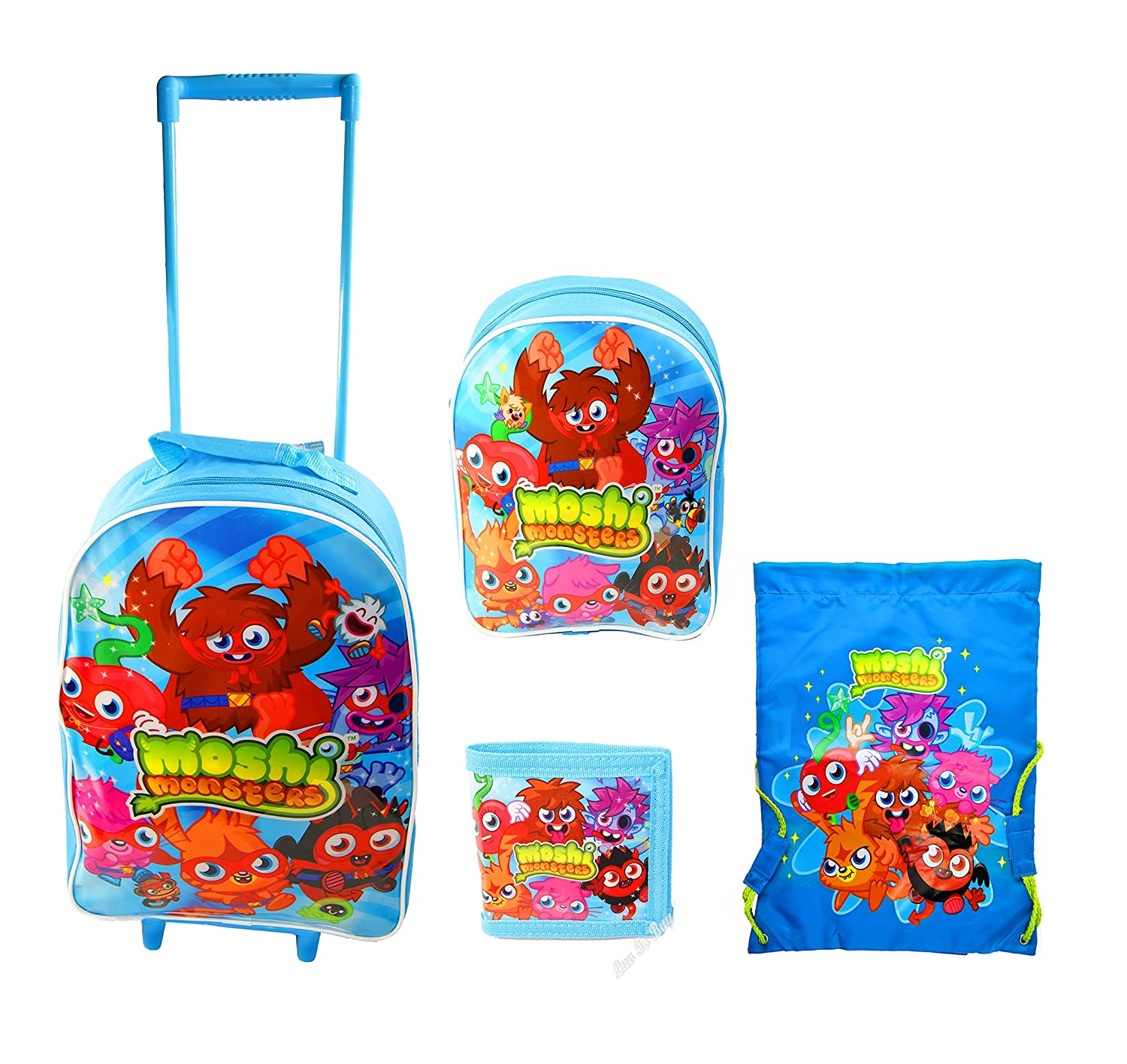 Childrenmoshi monsters childrens 4 piece luggage setwheeled bagholiday bag setofficial licensed amazon co uk luggage