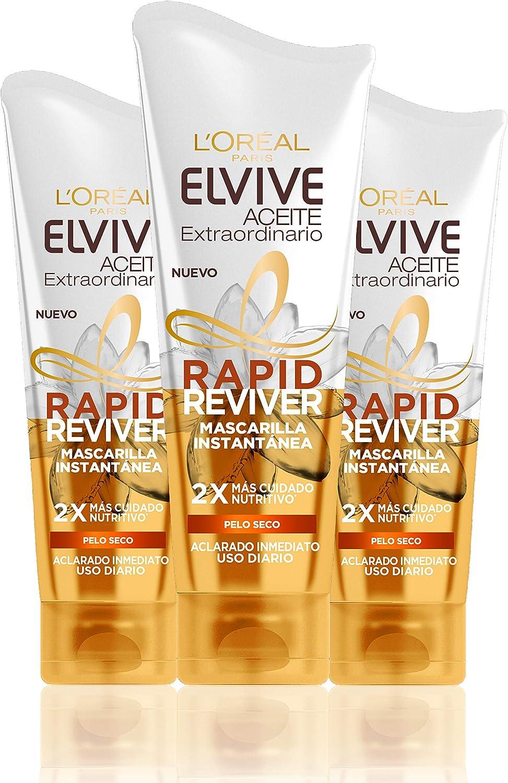 L'Oreal Paris Elvive Aceite Extraordinario Rapid Reviver Mascarilla Instantánea Nutritiva, para pelo seco - pack de 3 x 180 ml