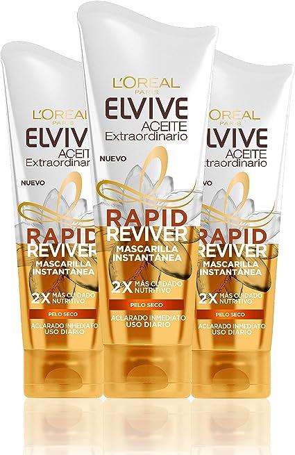 LOreal Paris Elvive Aceite Extraordinario Rapid Reviver Mascarilla Instantánea Nutritiva, para pelo seco - pack de 3 x 180 ml: Amazon.es