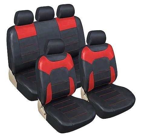 Negro//Rojo Momo Italy SC034BR Juego de cubre asientos universales