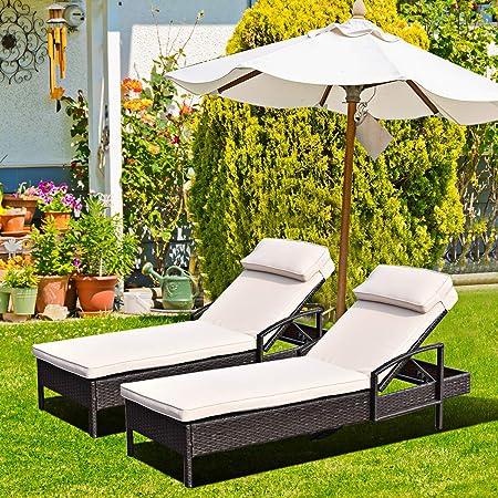 Amazon.com: Tumbona reclinable Tangkula, para patio, playa ...