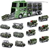 Hautton Diecast Military Vehicles Toy, 12 in 1 Mini Alloy Metal Army Model Battle-Car Within Carrier Truck Transport Car…