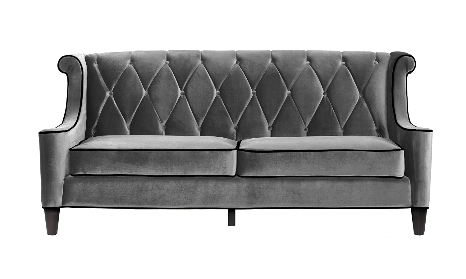 Amazon.com: Armen Living LC8443GRAY Barrister Sofa In Grey Velvet And Black  Wood Finish: Kitchen U0026 Dining
