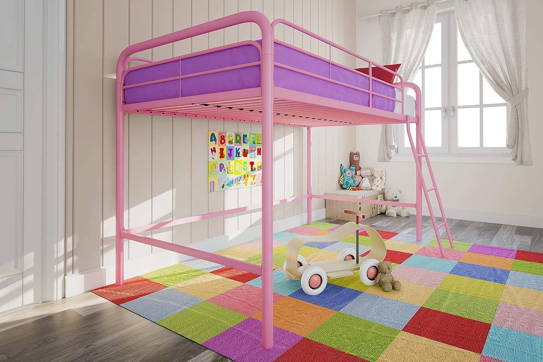 DHP Junior Loft Bed Frame With Ladder, Pink