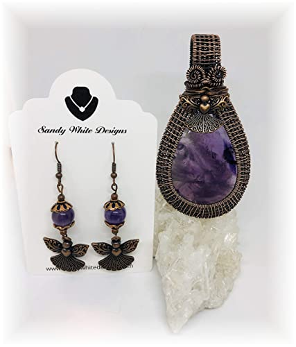 9123a1cd760f0 Amazon.com: Amethyst Pendant Set Wire Guardian Angel Wrapped Pendant ...