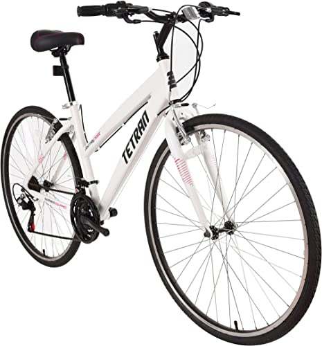 Tetran Journey – 700C Hybrid Bike, Alloy Frame and Rims, 21 Speed with Shimano Tourney, Unisex, Wine Red and White