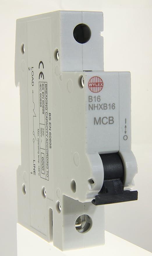 WYLEX NHX MCB 16AMP TYPE B SINGLE POLE NHXB16