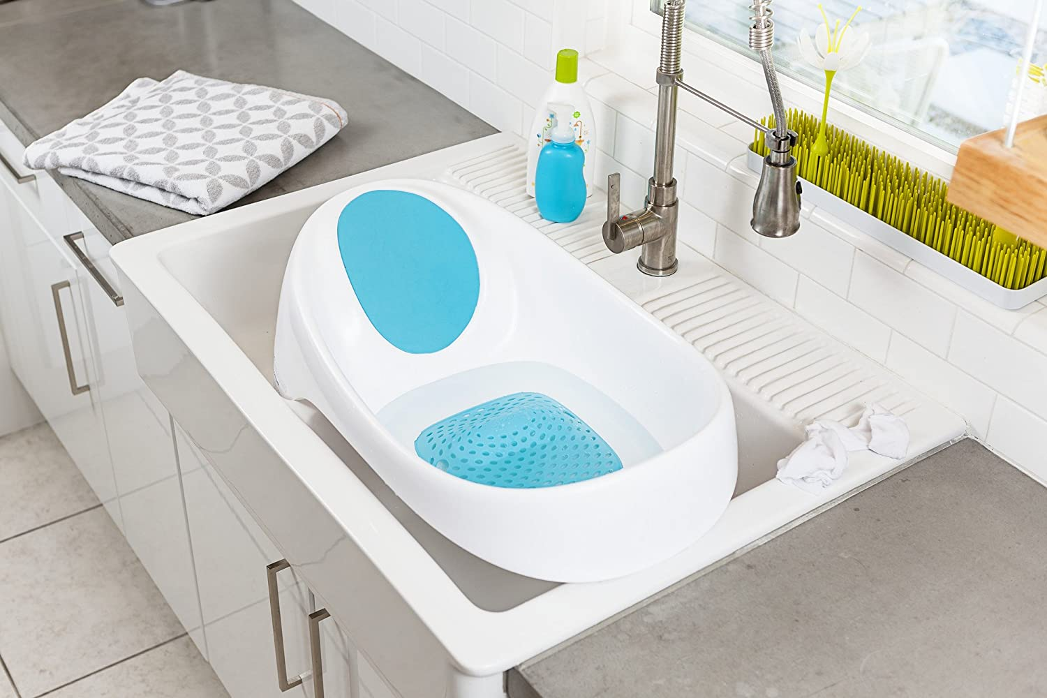 Amazon.com : Boon Soak 3-stage Bathtub, Gray, White : Baby