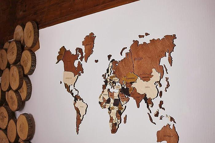 Amazon Com Wood World Map Wall Decor 3d Christmas Gift Handmade