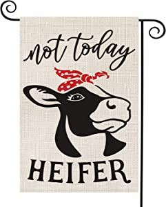 AVOIN Not Today Heifer Garden Flag Vertical Double Sided, Rustic Modern Farmhouse Flag Yard Outdoor Decoration 12.5 x 18 Inch