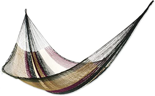 NOVICA Earthtone Green Striped Nylon Hand Woven Mayan Rope 2 Person XL Hammock