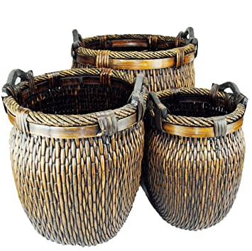 Topot Log Baskets Set Of 3 Piece Wicker Stitch Weave With Wood Ear Handles Baby