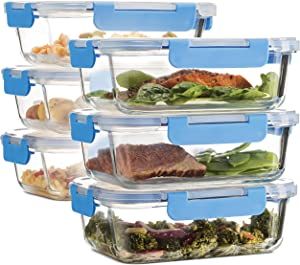 Superior Glass Meal Prep Containers - 6-pack (35oz) BPA-free Airtight Food Storage Containers with 100% Leak Proof Locking Lids, Freezer to Oven Safe Great on-the-go Portion Control Lunch Containers