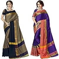 ANNI DESIGNER Women's Sarees Cotton Saree with Blouse Piece (Pack of 2)