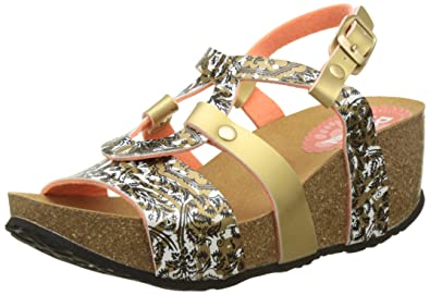 8b4069559f7ad7 Desigual Damen Bio 9 Save The Queen Slingback Sandalen Gold 8010
