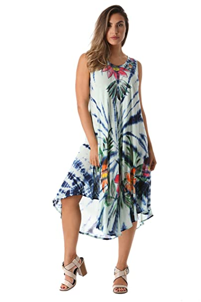 a458bcb10e Riviera Sun Tie Dye Summer Dress with Floral Hand Painted Design ...
