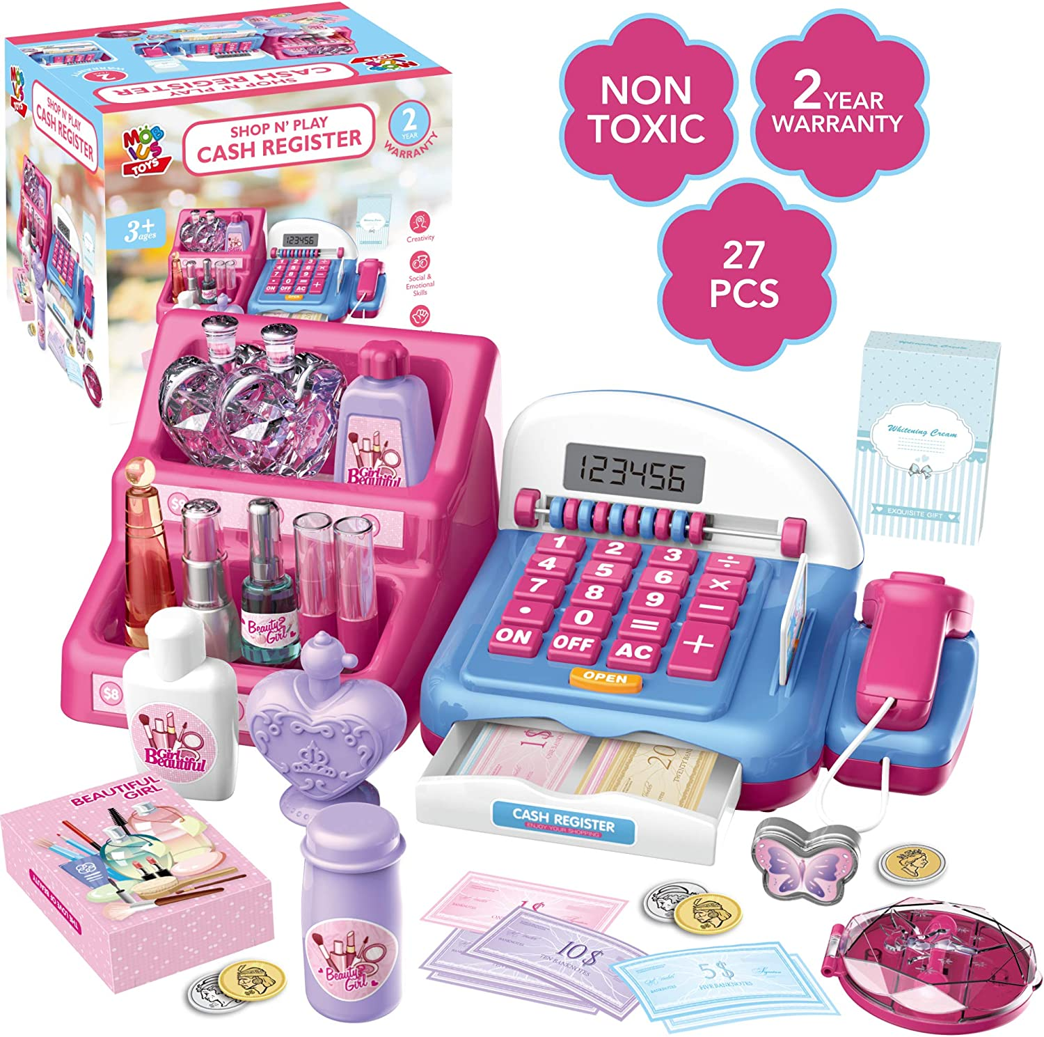 Shop N' Play Beauty Salon Cash Register Playset for Girls w/ Pretend Play Calculator, Money, Scanner, Credit Card & Makeup, Realistic Actions & Sounds, Educational Counting Toy for Kids 3-8 Years Old