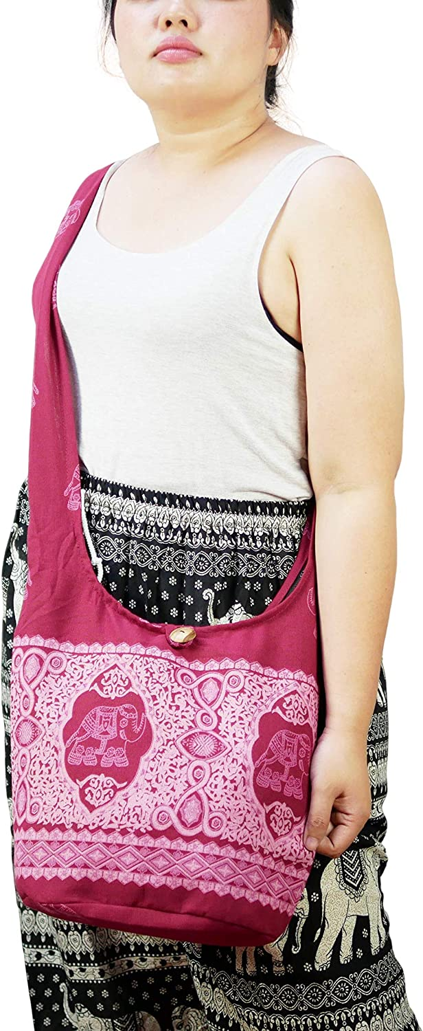 Peacock Turtle PumPumpZ Hippie Boho Elephant Owl Crossbody Bohemian Gypsy Sling Shoulder BagMedium Size