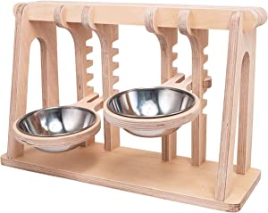 Pet Dog & Cat Bowls Stand, Adjustable Height Feeding Station with Stainless Steel Bowls