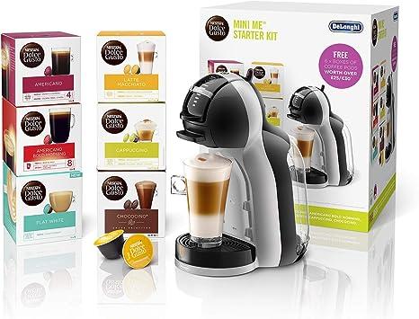 De'Longhi Nescafé Dolce Gusto Mini Me, Single Serve Capsule Coffee Machine Starter Kit, Including 6 boxes of Coffee Pods, EDG155.BG, Black & Grey