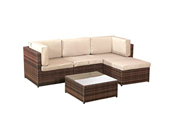 5 X Terrasse Lounge Rattan Ecksofa Garten Möbel Sets, Braun