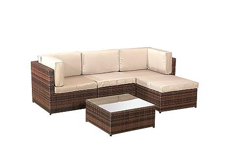 Divano angolare in rattan, set di mobili da giardino, marrone, in 5 pezzi