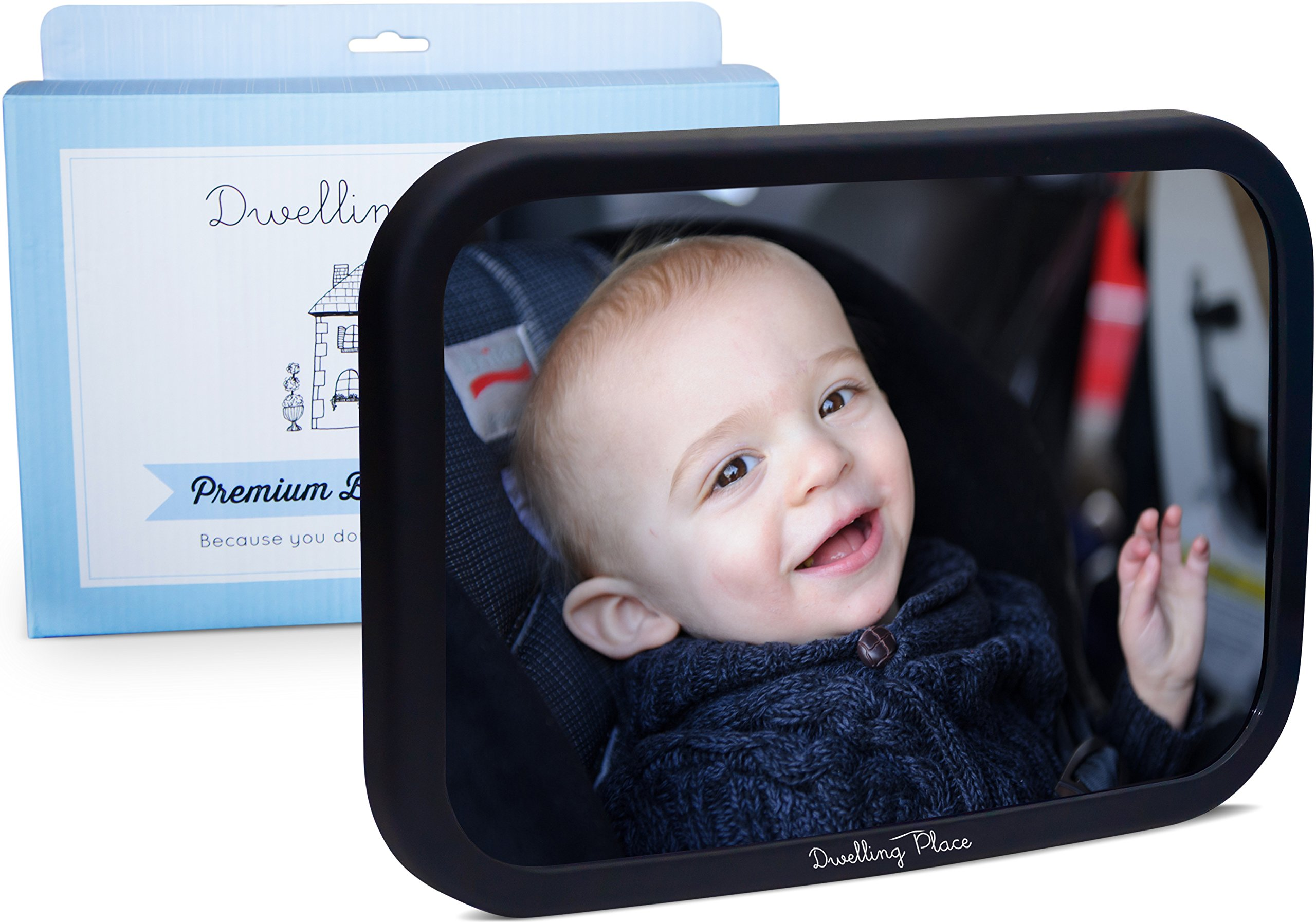 Dwelling Place #1 Premium Back Seat Mirror - Clear Reflection & Shatterproof | Monitor your Rear Facing Infant in Car Seat Carrier | Add to your Baby Registry or Buy for a Useful Shower Gift by Dwelling Place