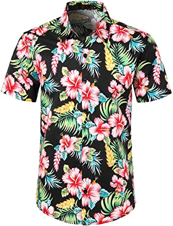 bd7b7a7b ZEROYAA Mens Hipster Hawaiian Hibiscus Design Short Sleeve Button Down  Summber Beach Shirts Black/Hibiscus