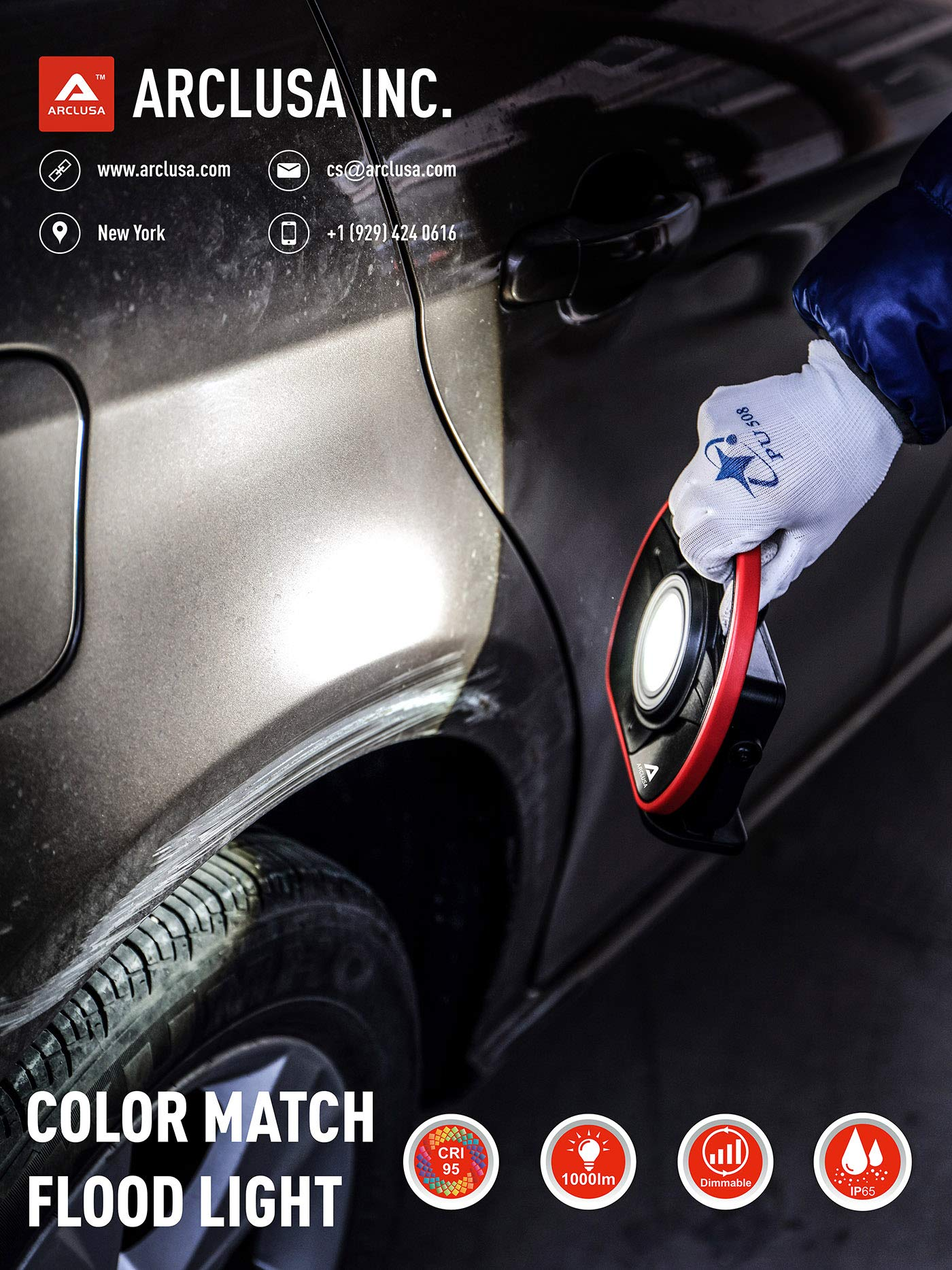 Arclusa COB LED Rechargeable Sunlight Color Match Paint Work Light Adjustable Holder Magnet Bottom Flood Light(1000 Lumen Color Match) by Arclusa (Image #3)